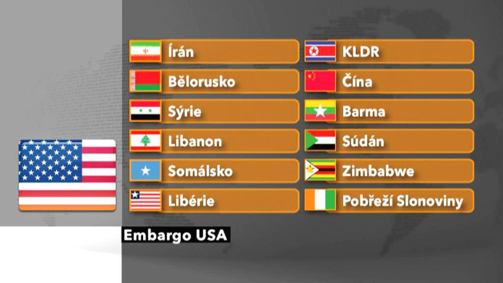 Země, na které se vztahuje americké zbrojní embargo