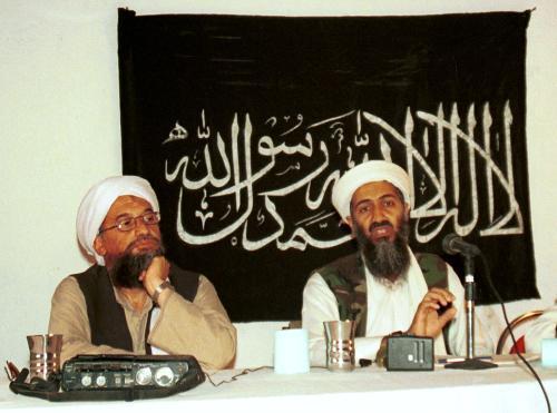 Ajmán Zavahrí s Usámou bin Ládinem