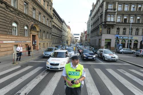 Policista řídí dopravu při demonstraci