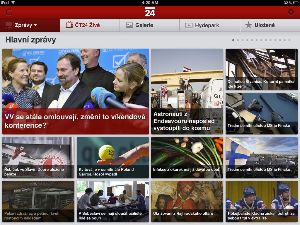 ČT24 na iPadu