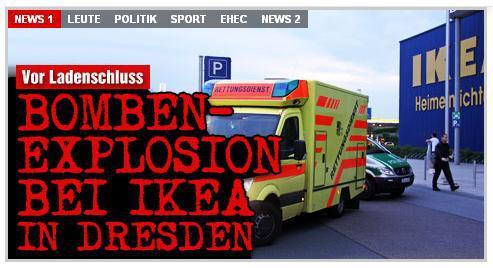 Německý deník Bild o explozi v IKEA