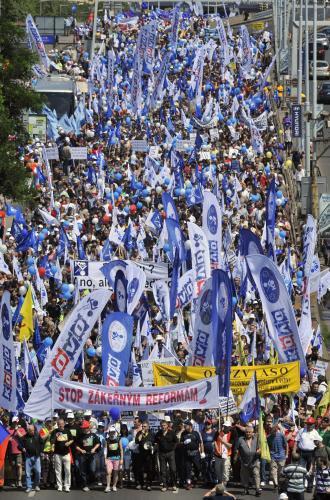 Pražská demonstrace nespokojených odborářů