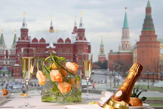 Výhled z moskevského hotelu Nacional