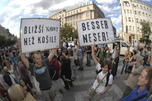 Prostest proti demolici domu na Václavském náměstí