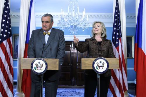 Tisková konference Karla Schwarzenberga a Hillary Clintonové