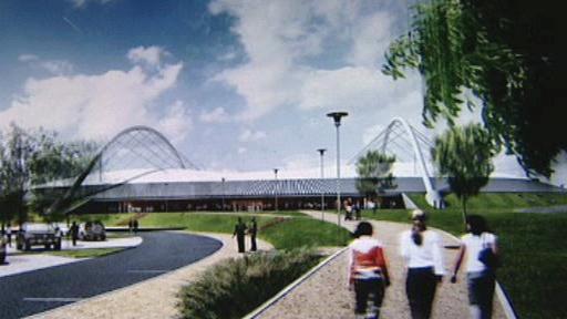 Plán rychlobruslařské dráhy u Velkého Oseku