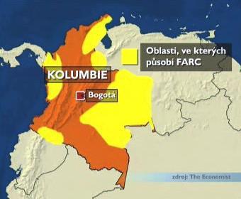 Oblasti, ve kterých působí FARC