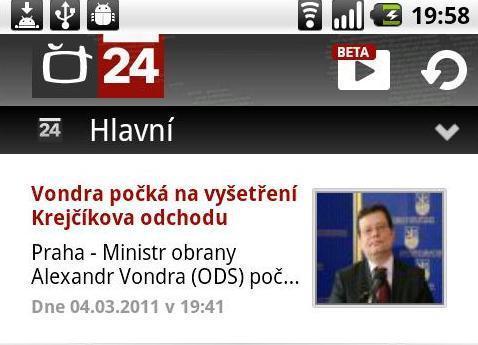 Aplikace ČT24 pro Android