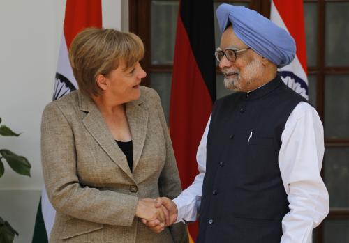 Angela Merkelová a Manmóhan Singh