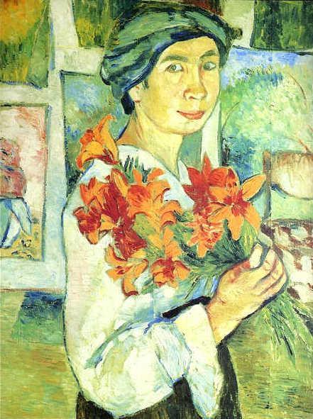 Natálie Gončarova / Autoportrét se žlutými liliemi (1907)