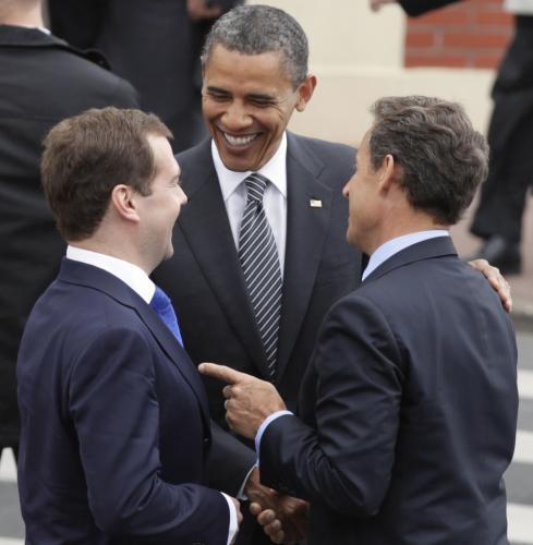 Dmitrij Medvěděv, Barack Obama a Nicolas Sarkozy