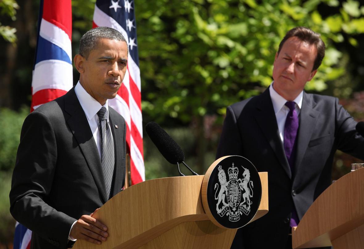 Barack Obama na tiskové konferenci s Davidem Cameronem