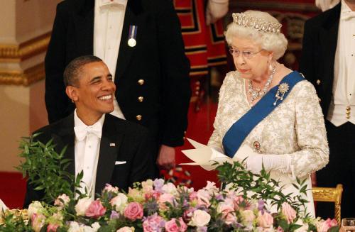 Státní večeře k návštěvě Baracka Obamy v Británii