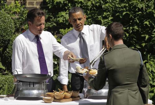 Cameron a Obama na grilování v Downing Street