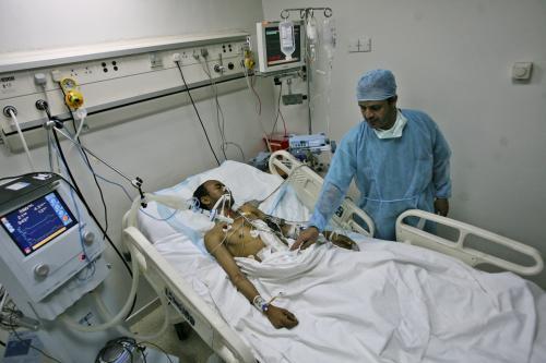 Zraněný jemenský demonstrant