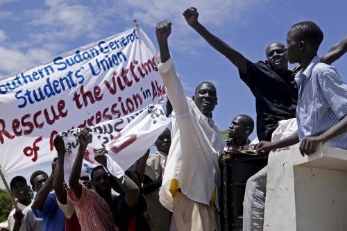 Protest obyvatel jižního Súdánu proti invazi v Abyei