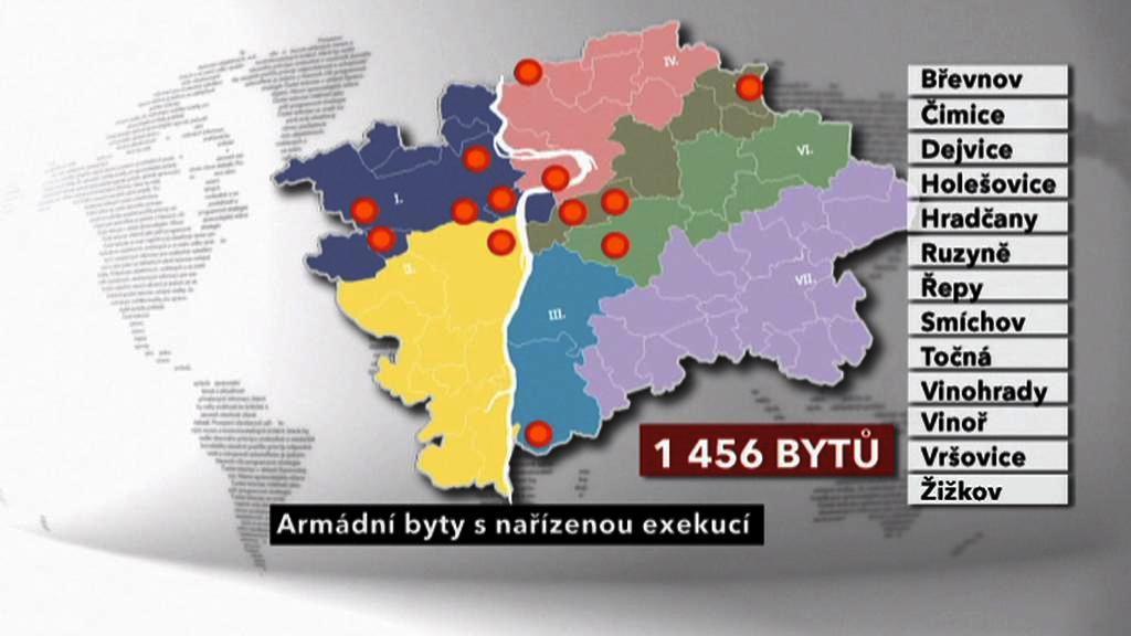 Počet armádních bytů v exekuci