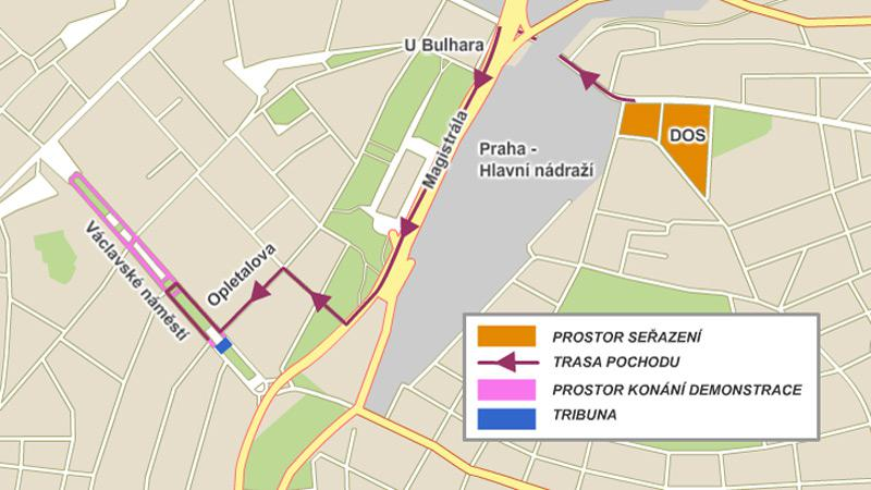 Mapa demonstrace ČMOKOS - 21.5.2011