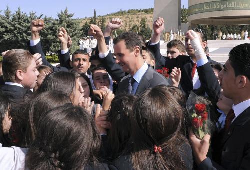 Syrský prezident Bašár Asad se svými stoupenci