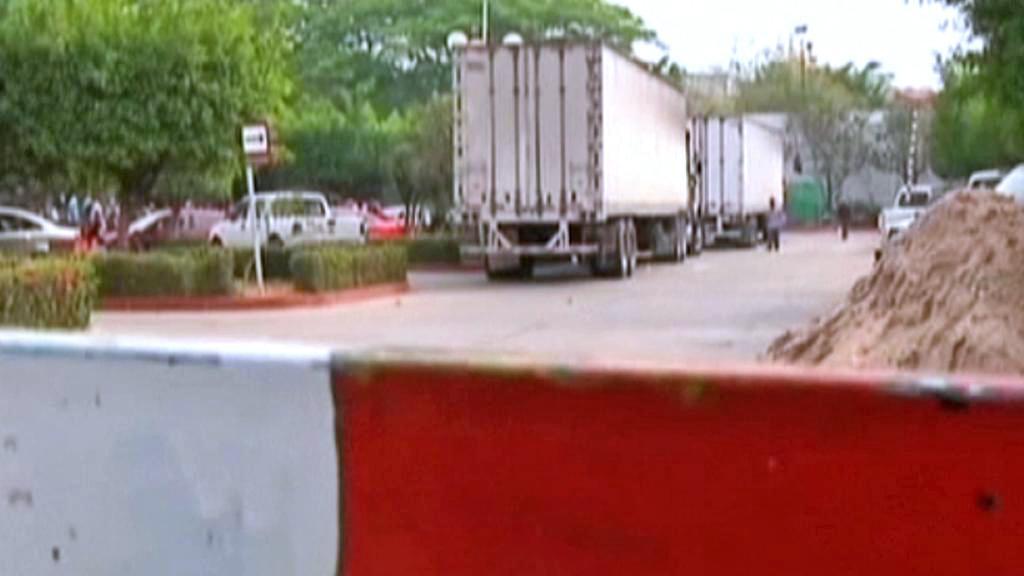 Kamiony s běženci na mexicko-guatemalských hranicích