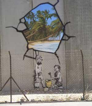 Z Banksyho tvroby / zeď v Palestině
