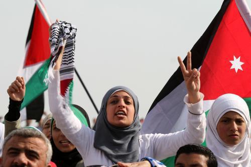 Jorádnská demonstrace na podporu Palestinců