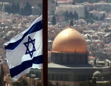 Izraelská vlajka nad Jeruzalémem