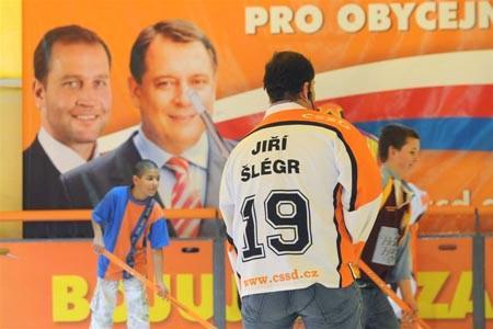 Jiří Šlégr při kampani ČSSD