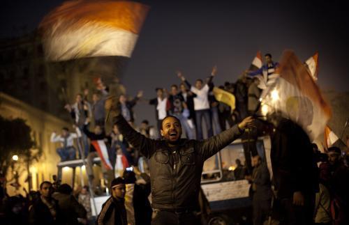 Oslavy Mubarakovy rezignace v Egyptě