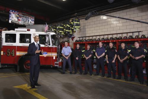 Obama s newyorskými hasiči