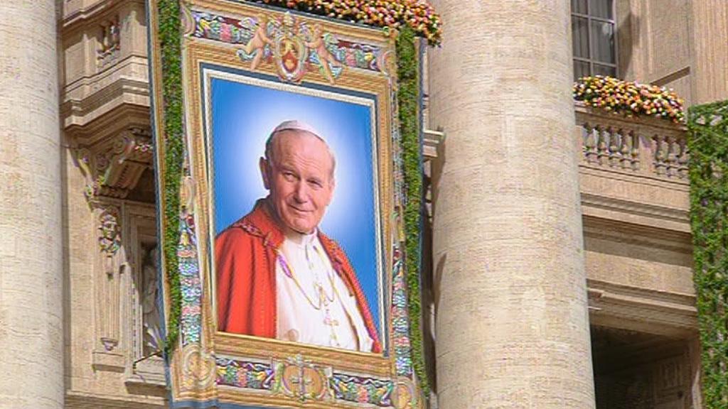 Plátno s portrétem Jana Pavla II.