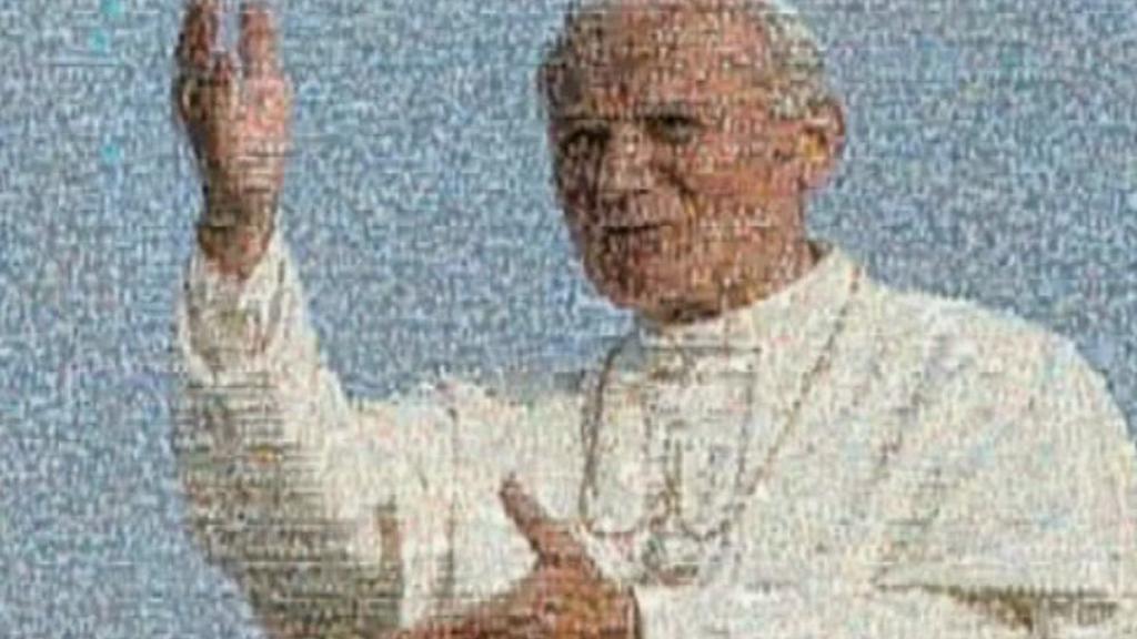 Portrét Jana Pavla II. složený z tisíců fotografií