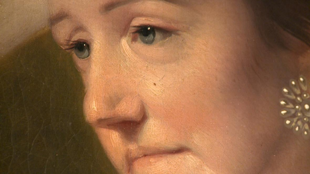 Joseph Wright of Derby / Perez Burdett a jeho žena Hannah (detail)