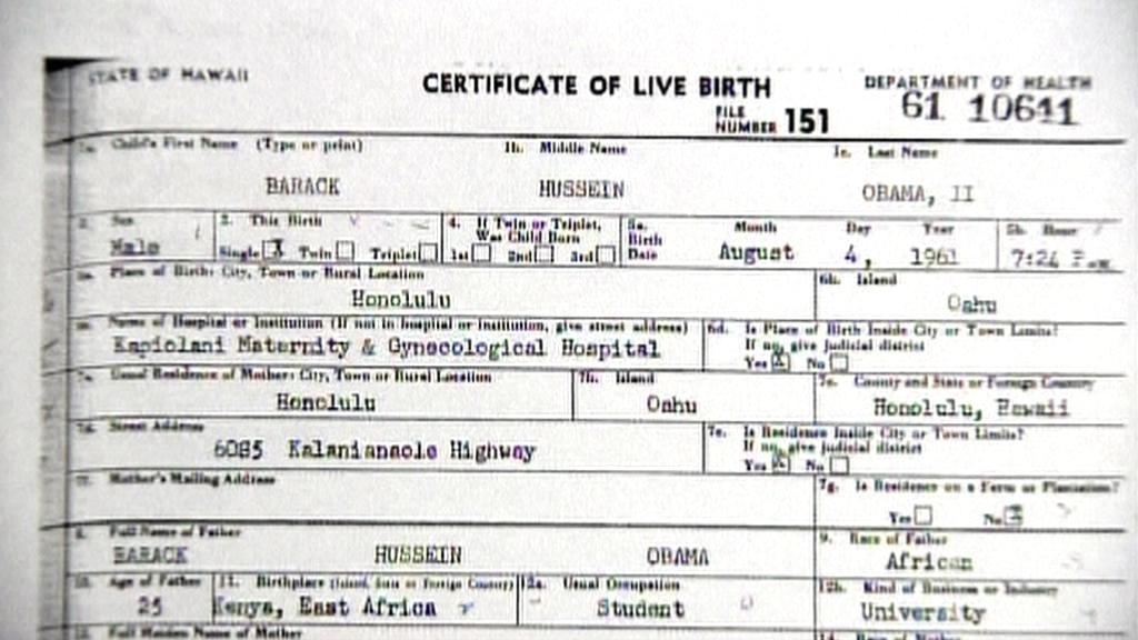 Rodný list Baracka Obamy