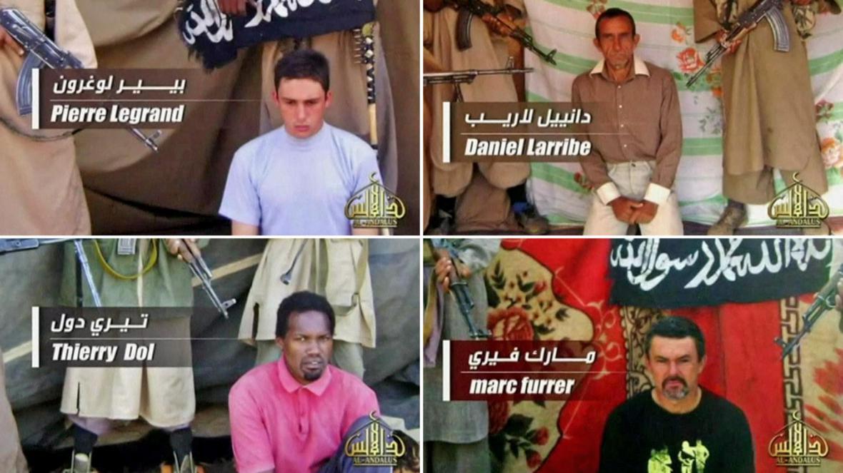 Čtyři unesení Francouzi na videonahrávce