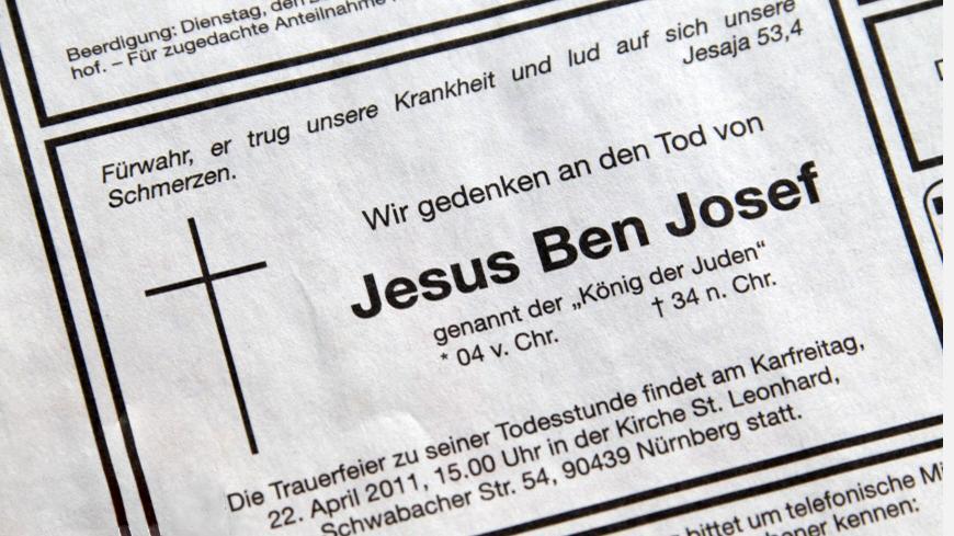 Úmrtní oznámení Ježíše Krista