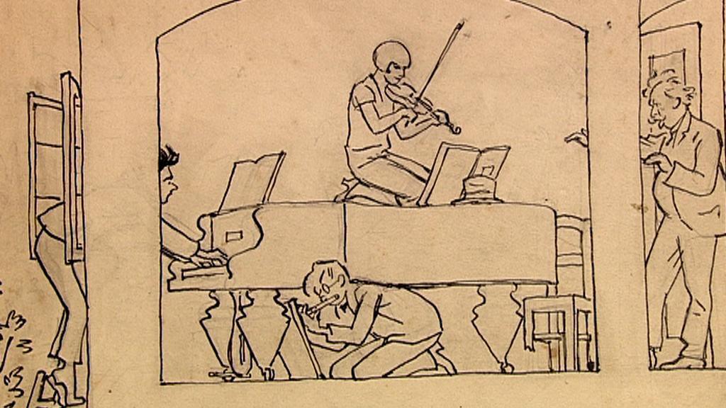 Dobová karikatura Pražské konzervatoře