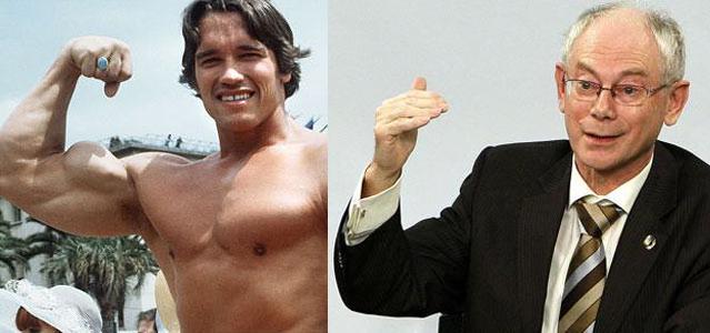 Arnold Schwarzenegger a Herman Van Rompuy