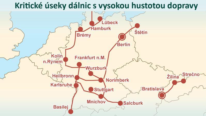 Kritické úseky dálnic s vysokou hustotou dopravy