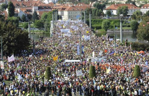 Protestující odboráři