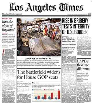 Titulní strana The Los Angeles Times
