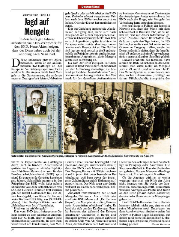 Der Spiegel o Mengelem a BND
