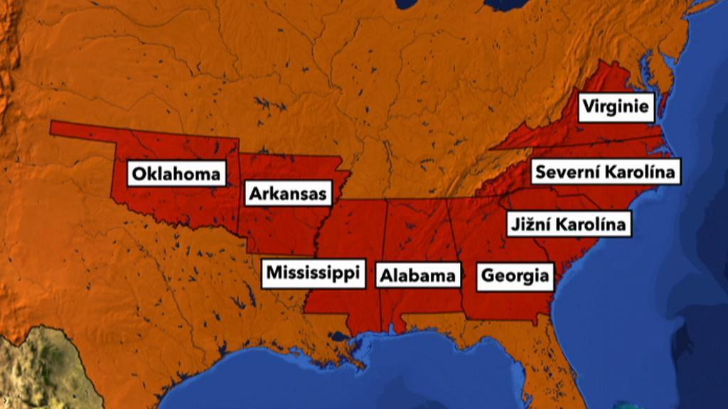 Mapa postižené oblasti