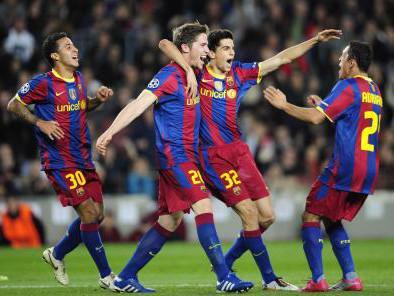 Radost hráčů Barcelony