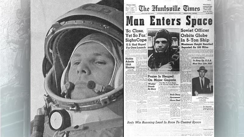 Tisk o letu Jurije Gagarina do vesmíru