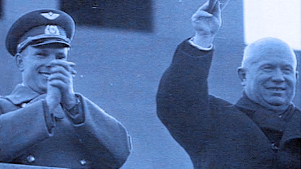 Jurij Gagarin a Nikita Chruščov