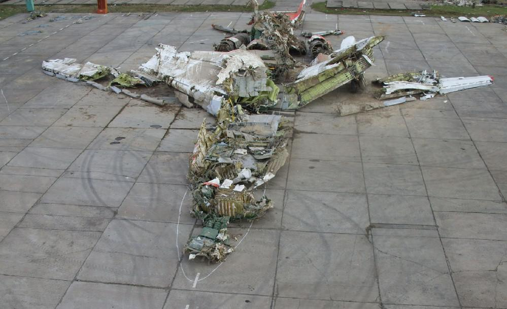 Havarovaný polský letoun ve Smolensku