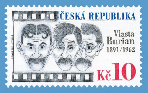 Poštovní známka s Vlastou Burianem