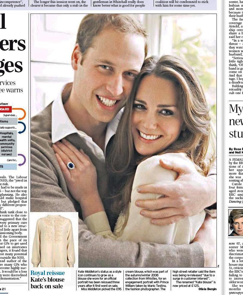 Daily Telegraph o blůze Kate Middletonové