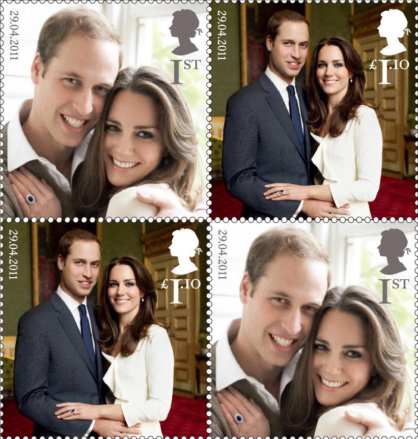 Britská pošta vydala aršík známek s princem Williamem a Kate Middletonovou